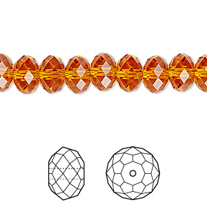 bead, swarovski crystals, crystal passions, tangerine, 8x6mm faceted rondelle (5040). sold per pkg of 12.