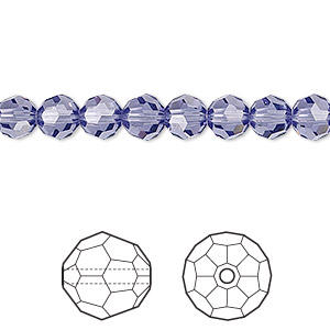 bead, swarovski crystals, crystal passions, tanzanite, 6mm faceted round (5000). sold per pkg of 12.