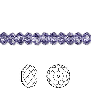 bead, swarovski crystals, crystal passions, tanzanite, 6x4mm faceted rondelle (5040). sold per pkg of 144 (1 gross).