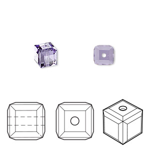 bead, swarovski crystals, crystal passions, tanzanite, 6x6mm faceted cube (5601). sold per pkg of 6.