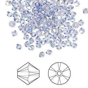 bead, swarovski crystals, crystal passions, tanzanite ab, 3mm xilion bicone (5328). sold per pkg of 144 (1 gross).