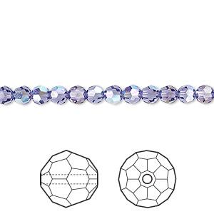 bead, swarovski crystals, crystal passions, tanzanite ab, 4mm faceted round (5000). sold per pkg of 12.