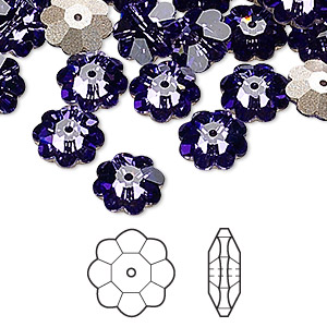 bead, swarovski crystals, crystal passions, tanzanite, foil back, 10x3.5mm faceted marguerite lochrose flower (3700). sold per pkg of 144 (1 gross).
