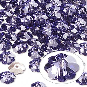 bead, swarovski crystals, crystal passions, tanzanite, foil back, 6x2mm faceted marguerite lochrose flower (3700). sold per pkg of 144 (1 gross).