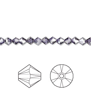 bead, swarovski crystals, crystal passions, tanzanite satin, 4mm xilion bicone (5328). sold per pkg of 48.