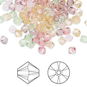 bead, swarovski crystals, crystal passions, tenderness, 4mm xilion bicone (5328) and faceted bicone (5301). sold per pkg of 48.
