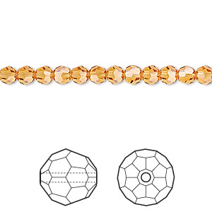 bead, swarovski crystals, crystal passions, topaz, 4mm faceted round (5000). sold per pkg of 12.