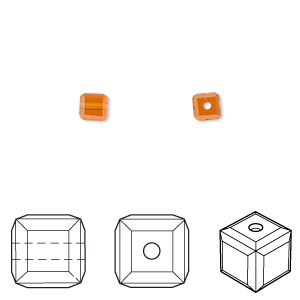 bead, swarovski crystals, crystal passions, topaz, 4x4mm faceted cube (5601). sold per pkg of 12.