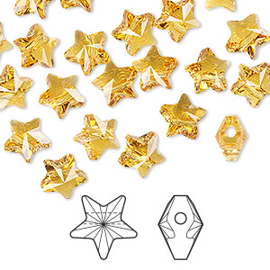 bead, swarovski crystals, crystal passions, topaz, 8x8mm faceted star (5714). sold per pkg of 24.