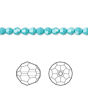 bead, swarovski crystals, crystal passions, turquoise, 4mm faceted round (5000). sold per pkg of 12.