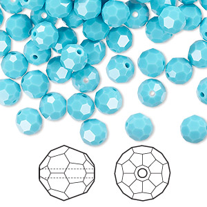 bead, swarovski crystals, crystal passions, turquoise, 6mm faceted round (5000). sold per pkg of 144 (1 gross).