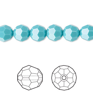 bead, swarovski crystals, crystal passions, turquoise, 8mm faceted round (5000). sold per pkg of 12.