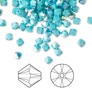bead, swarovski crystals, crystal passions, turquoise ab, 4mm xilion bicone (5328). sold per pkg of 144 (1 gross).