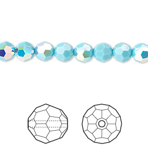 bead, swarovski crystals, crystal passions, turquoise ab, 6mm faceted round (5000). sold per pkg of 12.