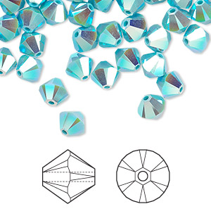 bead, swarovski crystals, crystal passions, turquoise ab2x, 4mm xilion bicone (5328). sold per pkg of 48.