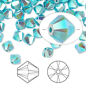 bead, swarovski crystals, crystal passions, turquoise ab2x, 4mm xilion bicone (5328). sold per pkg of 144 (1 gross).