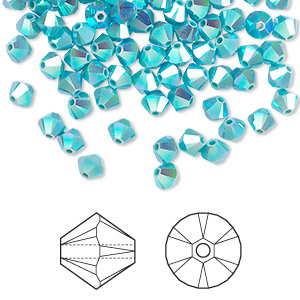 bead, swarovski crystals, crystal passions, turquoise ab2x, 6mm xilion bicone (5328). sold per pkg of 360.