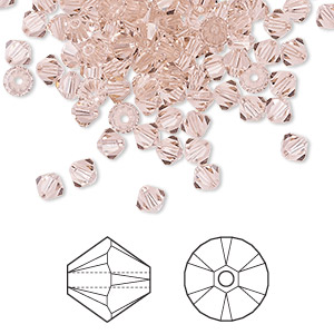 bead, swarovski crystals, crystal passions, vintage rose, 4mm xilion bicone (5328). sold per pkg of 48.