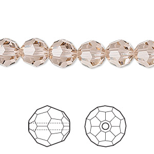 bead, swarovski crystals, crystal passions, vintage rose, 8mm faceted round (5000). sold per pkg of 144 (1 gross).