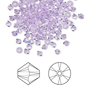 bead, swarovski crystals, crystal passions, violet, 3mm xilion bicone (5328). sold per pkg of 48.