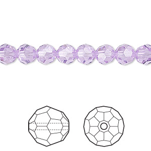 bead, swarovski crystals, crystal passions, violet, 6mm faceted round (5000). sold per pkg of 12.