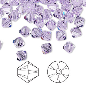 bead, swarovski crystals, crystal passions, violet, 6mm xilion bicone (5328). sold per pkg of 24.