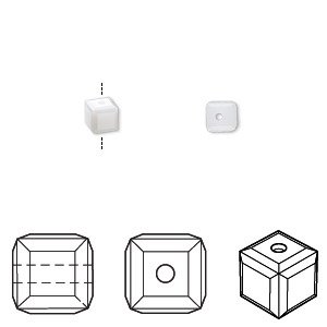 bead, swarovski crystals, crystal passions, white alabaster, 4x4mm faceted cube (5601). sold per pkg of 12.