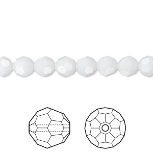 bead, swarovski crystals, crystal passions, white alabaster, 6mm faceted round (5000). sold per pkg of 144 (1 gross).