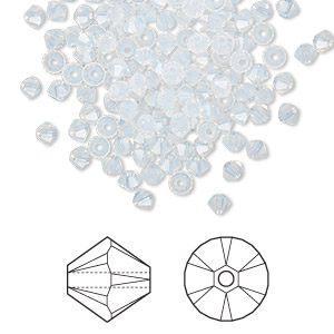 bead, swarovski crystals, crystal passions, white opal, 3mm xilion bicone (5328). sold per pkg of 144 (1 gross).