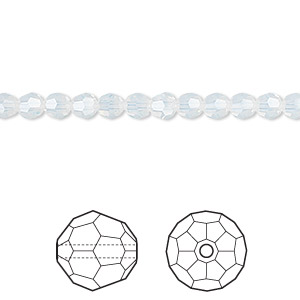 bead, swarovski crystals, crystal passions, white opal, 4mm faceted round (5000). sold per pkg of 12.