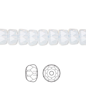bead, swarovski crystals, crystal passions, white opal, 8x5mm faceted rondelle (5045). sold per pkg of 24.