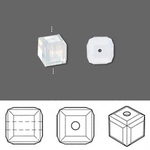 bead, swarovski crystals, crystal passions, white opal, 8x8mm faceted cube (5601). sold per pkg of 6.