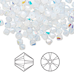 bead, swarovski crystals, crystal passions, white opal ab, 4mm xilion bicone (5328). sold per pkg of 48.