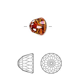 bead, swarovski crystals, crystal red magma, 10x8mm faceted dome small (5542). sold per pkg of 96.