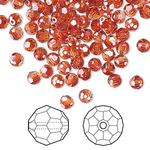 bead, swarovski crystals, crystal red magma, 4mm faceted round (5000). sold per pkg of 144 (1 gross).