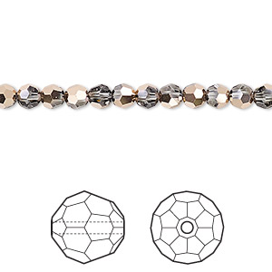 bead, swarovski crystals, crystal rose gold, 4mm faceted round (5000). sold per pkg of 720 (5 gross).
