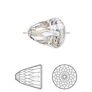 bead, swarovski crystals, crystal silver shade, 15x13.5mm faceted dome large (5541). sold per pkg of 48.