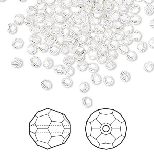 bead, swarovski crystals, crystal silver shade, 3mm faceted round (5000). sold per pkg of 720 (5 gross).