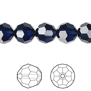bead, swarovski crystals, dark indigo, 10mm faceted round (5000). sold per pkg of 2.