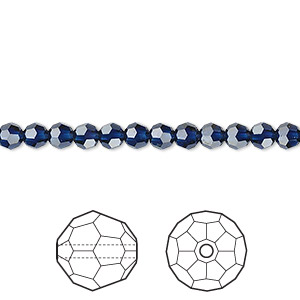 bead, swarovski crystals, dark indigo, 4mm faceted round (5000). sold per pkg of 12.