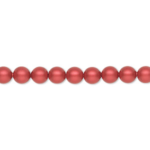 bead, swarovski crystals, dark red coral, 4x4mm faceted cube (5601). sold per pkg of 288 (2 gross).