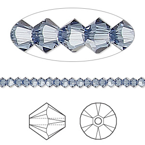 bead, swarovski crystals, denim blue, 3mm xilion bicone (5328). sold per pkg of 1,440 (10 gross).