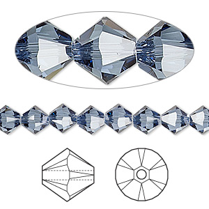 bead, swarovski crystals, denim blue, 6mm xilion bicone (5328). sold per pkg of 360.