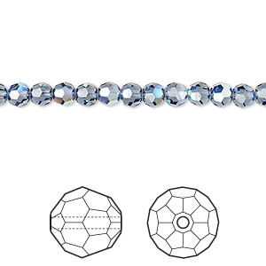 bead, swarovski crystals, denim blue ab, 4mm faceted round (5000). sold per pkg of 720 (5 gross).