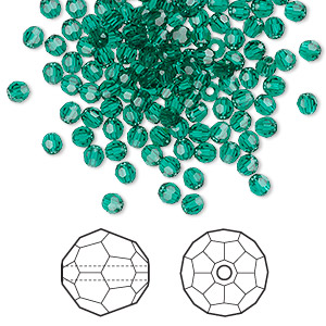 bead, swarovski crystals, emerald, 3mm faceted round (5000). sold per pkg of 720 (5 gross).