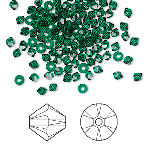 bead, swarovski crystals, emerald, 3mm xilion bicone (5328). sold per pkg of 1,440 (10 gross).