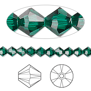 bead, swarovski crystals, emerald, 5mm xilion bicone (5328). sold per pkg of 720 (5 gross).