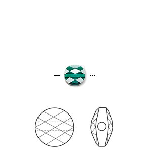 bead, swarovski crystals, emerald, 6mm faceted mini round (5052). sold per pkg of 288 (2 gross).