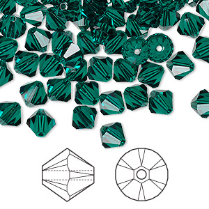 bead, swarovski crystals, emerald, 6mm xilion bicone (5328). sold per pkg of 144 (1 gross).