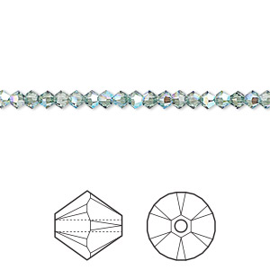 bead, swarovski crystals, erinite shimmer, 3mm xilion bicone (5328). sold per pkg of 1,440 (10 gross).
